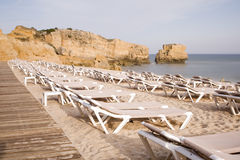 Albufeira beach with sand and sea at Algarve Royalty Free Stock Images