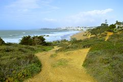 Albufeira beach in the springtime royalty free stock images