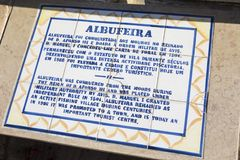 Albufeira Plaque. A plaque located in Albufeira, Portugal, detailing the history of the city royalty free stock photography