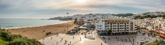 Albufeira Praia do Pescadores. A panoramic scene from Albufeira holiday destination at the Algarve, Portugal. Beach, City Centre and Square in one picture Stock Images