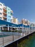 ALBUFEIRA, SOUTHERN ALGARVE/PORTUGAL - MARCH 10 : Colourful Buil. Dings at the Marina in Albufeira Portugal on March 10, 2018 Royalty Free Stock Images