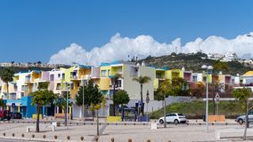 ALBUFEIRA, SOUTHERN ALGARVE/PORTUGAL - MARCH 10 : Colourful Buildings at the Marina in Albufeira Portugal on March. 10, 2018. Unidentified people stock photos