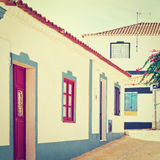 Albufeira. Square in the Medieval Portuguese City of Albufeira, Instagram Effect royalty free stock photography