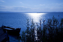 Albufera blue boats lake in El Saler Valencia Stock Images
