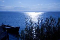 Albufera blue boats lake in El Saler Valencia Stock Images