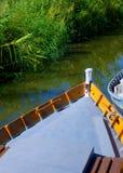 Albufera channel boats in el Palmar of Valencia Royalty Free Stock Photography