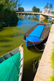 Albufera channel boats in el Palmar of Valencia Stock Photos