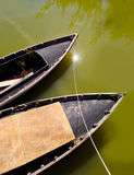 Albufera channel boats in el Palmar of Valencia Royalty Free Stock Image