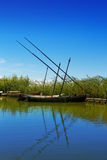 Albufera channel boats in el Palmar of Valencia Stock Photo