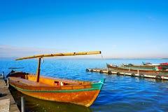 Albufera delle barche di Valencia nel lago immagini stock