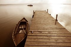 Albufera lake wetlands pier in Valencia Spain Stock Images