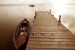 Albufera lake wetlands pier in Valencia Spain Stock Images