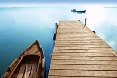 Albufera lake wetlands pier in Valencia Spain Stock Photos