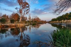 Albufera nature reserve with picturesque fishing boats in Catarroja Stock Photos
