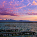 Albufera sunset lake park in Valencia el saler Royalty Free Stock Images