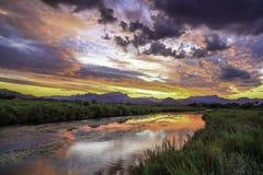 Albufereta wetlands and Tramuntana mountains at sunset