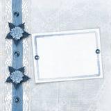 Album blu per le foto con merletto Fotografia Stock Libera da Diritti