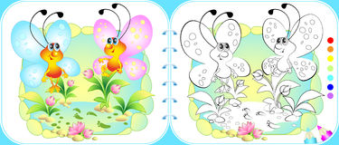 Album for child with two fun butterflies Stock Image