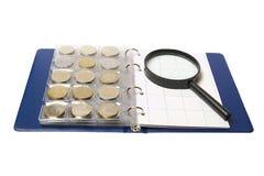 album coins glass förstoring Royaltyfri Fotografi