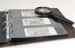 Album with collection of bonds Royalty Free Stock Photo