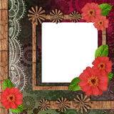 Album cover with wooden frame and flowers Royalty Free Stock Photo