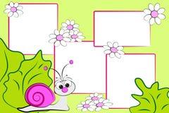 Album del bambino - lumaca e fiori Fotografia Stock