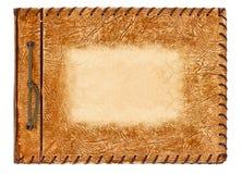 Album dell'annata con il coperchio di cuoio marrone Fotografie Stock