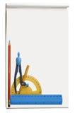 Album dell'illustrazione, con differenti strumenti e spazio libero Fotografie Stock Libere da Diritti