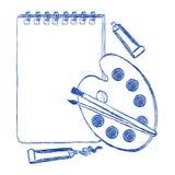 Album della scuola e penna a sfera di stile di contorno della tavolozza Fotografia Stock Libera da Diritti