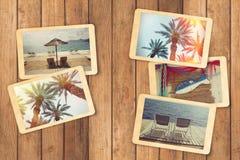 Album för foto för semester för sommarferie med ögonblickliga foto Fotografering för Bildbyråer