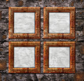 Album frames. Four frames on wooden background for your album stock illustration
