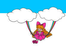 Album illustration girl rainbow swing Stock Photo