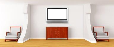 Album met stoelen, dienst en LCD TV stock illustratie