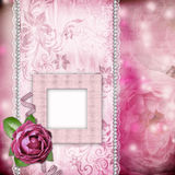 Album page - romantic background with frame, rose Stock Photography