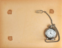 Album page with vintage clock Royalty Free Stock Photo