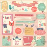 Album per ritagli di Natale messo - elementi decorativi Immagine Stock Libera da Diritti