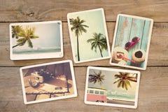 Album photos d'été sur la table en bois Photo stock