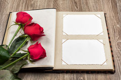 Album photos et roses sur le fond en bois Photographie stock