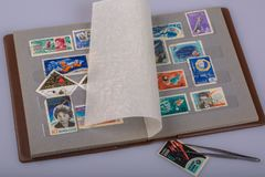 An album of postage stamps Royalty Free Stock Images
