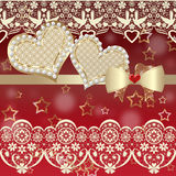 Album valentine card with hearts and lace on red Stock Photo