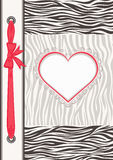 Album with zebra texture and heart frame Stock Photos