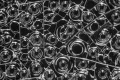 Albumen macro shot. Microscopic detail of some dried egg white in dark back Stock Photo
