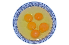 Albumen and yolk egg in the bowl. On white background Royalty Free Stock Photography