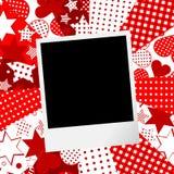 Albumsida för urklippsbok med fotoramen och förälskelsemotivbackgr Royaltyfria Bilder