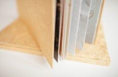 Albumu fotograficznego Złoty kolor z tekstylną pokrywą Obrazy Stock