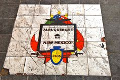 Albuquerque. Symbol of Albuquerque on the pavement of the city royalty free stock photography