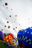 Albuquerque Balloon Fiesta Launch 2015. Hot air balloons filling launching at the 2015 Albuquerque Balloon Fiesta in New Mexico. Photo from Sunday October 4 royalty free stock image