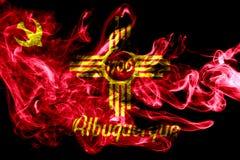 Albuquerque city smoke flag, New Mexico State, United States Of. America stock photo