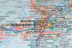 Roads on the map around Albuquerque city, USA. Albuquerque is a city in the United States of America and the county seat of Bernalillo in the State of New Stock Photography