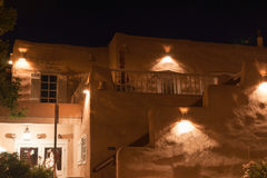 Albuquerque example Spanish Revival Architecture  at night feat. Ures accented by downlights Stock Photo